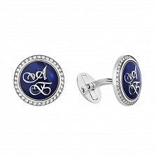 Серебряные запонки с синей эмалью и логотипом АБ