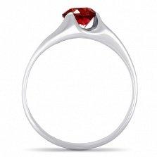 Серебряное кольцо Глаз дракона с синтезированным рубином и родием