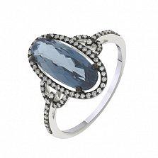 Кольцо в белом золоте Гера с лондон топазом и бриллиантами