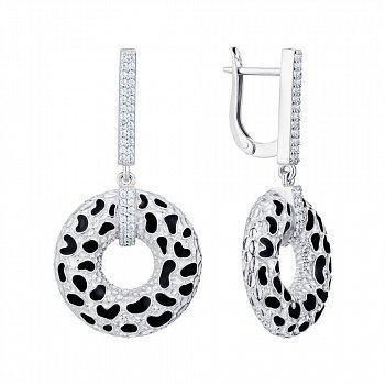 Серебряные серьги-подвески с эмалью и фианитами 000149750