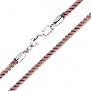 Світло-коричневий шовковий шнурок зі срібною застібкою-карабіном 000047071