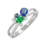 Золотое кольцо Летний дождь с сапфирами, цаворитом и бриллиантами