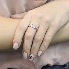 Золотое кольцо Коронация в белом цвете с бриллиантом