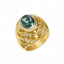 Золотой перстень Вершина с турмалином и бриллиантами