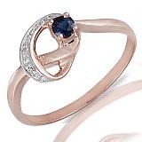 Кольцо из красного золота Эльмира с бриллиантами и сапфиром