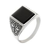 Серебряное кольцо с ониксом Мушкетер