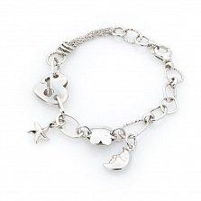 Серебряный браслет Сказочница Луна с разными звеньями и подвесками в стиле Шанель