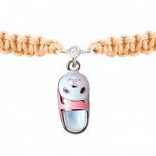 Детский плетеный браслет Тапочек с котенком с эмалью и фианитом, 15-7см