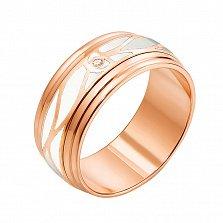 Золотое обручальное кольцо Страна любви в красном цвете с бриллиантом и белой эмалью