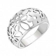 Серебряное ажурное  кольцо Цветочная поляна