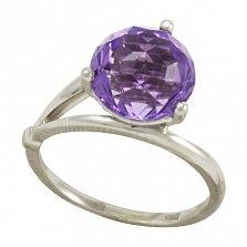 Серебряное кольцо Бриджит с синтезированным аметистом