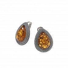 Серебряные серьги Рошель с чернением и оранжевым янтарем