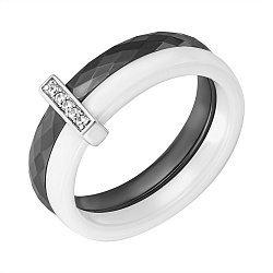 Кольцо из серебра, черной и белой керамики с фианитами 000070068