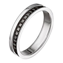 Обручальное кольцо Мелодия в белом золоте с черной шпинелью в стиле Бушерон