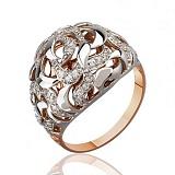 Золотое кольцо с орнаментом Измира с фианитами