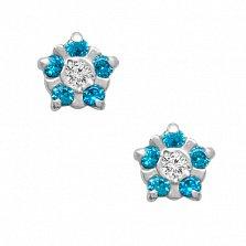 Серебряные серьги-пуссеты Незабудки с голубыми и белыми фианитами