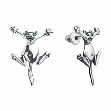 Серебряные серьги-джекеты Счастливый кот с зелеными фианитами