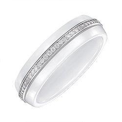 Кольцо серебряное с керамикой и фианитами 000147858