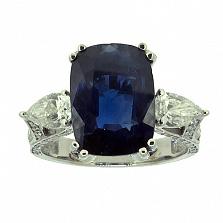 Золотое кольцо с бриллиантами и сапфиром Nika