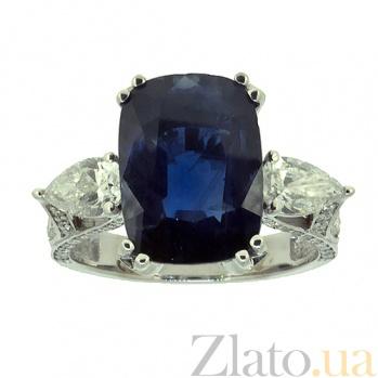 Золотое кольцо с бриллиантами и сапфиром Nika ZMX--RDS-00355w