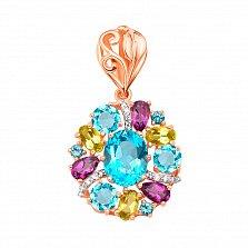 Кулон в комбинированном цвете золота с голубыми топазами, аметистами, хризолитами 000131550