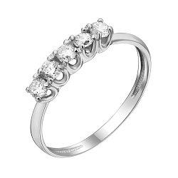 Золотое кольцо в белом цвете с пятью фианитами 000080562