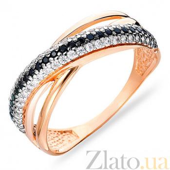 Золотое кольцо с белыми и черными фианитами Мишель SUF--140451ч