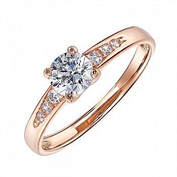 Кольцо из красного золота с фианитами 000055247