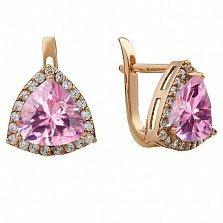 Золотые серьги Габриэлла с розовым топазом и фианитами