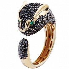Золотое кольцо с черными бриллиантами Пантера