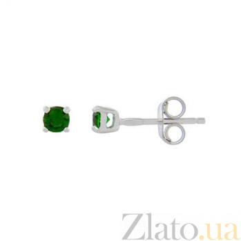Серебряные серьги гвоздики с зеленым цирконом AQA--2202070/3G