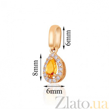Золотой подвес Капля росы с цитрином и фианитами EDM--П4031цитрин