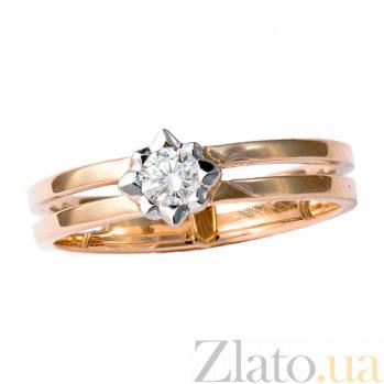 Золотое кольцо в красном цвете с бриллиантом Марьям 000021494