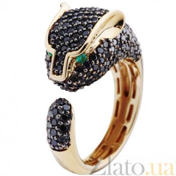 Золотое кольцо с черными бриллиантами Пантера KBL--К1707/крас/чбрил