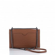 Кожаный клатч Genuine Leather 3322 коричневого цвета с короткой ручкой и плечевым ремнем-цепочкой