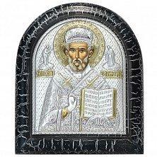 Икона на деревянной основе Святой Николай с позолотой и эмалью, 11х13