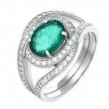 Золотое кольцо Альтаир в белом цвете с изумрудом и бриллиантами
