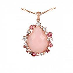 Золотой кулон с ониксом, бриллиантами, розовыми кварцами и турмалинами Мечтательница 000037959