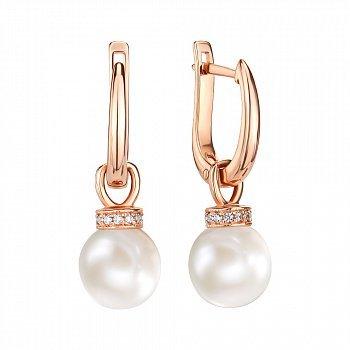 Сережки-підвіски з червоного золота з перлами і фіанітами 000146202
