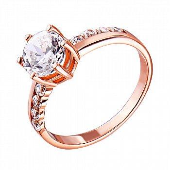 Золотое кольцо в красном цвете с фианитами 000119385