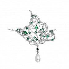 Серебряная брошь Бабочка с имитацией жемчуга и фианитами