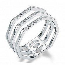 Серебряное тройное кольцо Огни мегаполиса с фианитами в стиле Гуччи