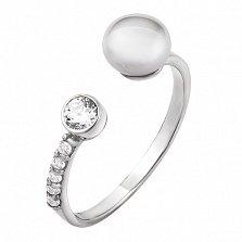 Серебряное кольцо Прайм с жемчугом, цирконием и золотой накладкой