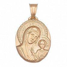 Ладанка Дева Мария с младенцем в красном золоте
