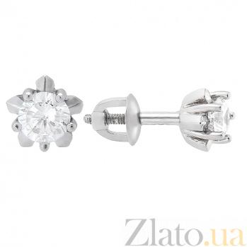 Серебряные серьги с белым цирконием Тюльпанчик 2437/9р бел
