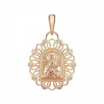 Ладанка из красного золота Богородица Семистрельная с фианитами 000146027