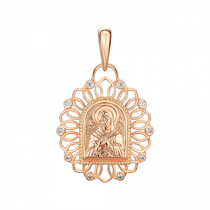 Ладанка из красного золота Богородица Семистрельная с фианитами 000146027 000146027