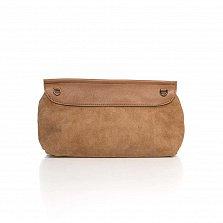 Кожаный клатч Genuine Leather 1385 цвета тауп с принтом рептилии и плечевым ремнем