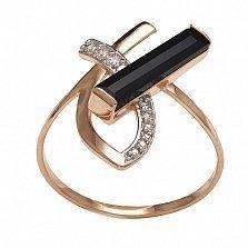 Кольцо в красном золоте Розали с агатом и фианитами