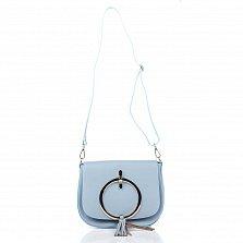 Кожаный клатч Genuine Leather 8621 голубого цвета с декоративным элементом и плечевым ремнем